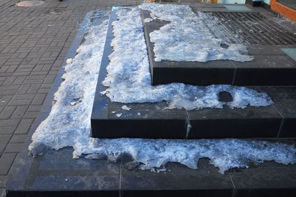 Snow and ice on steps.