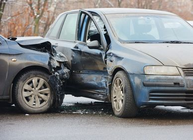 Damaged cars after a serious accident