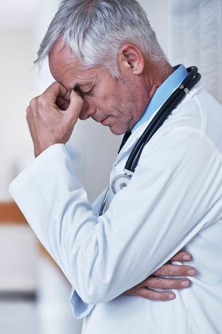 doctor sighing