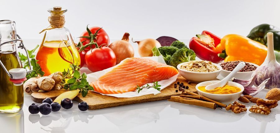 A variety of healthy foods which should be consumed by post-liposuction patients.