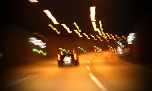Distorted view of car driving on highway