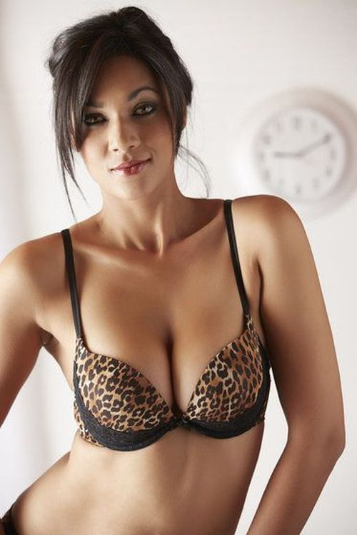 Woman wearing leopard print bra