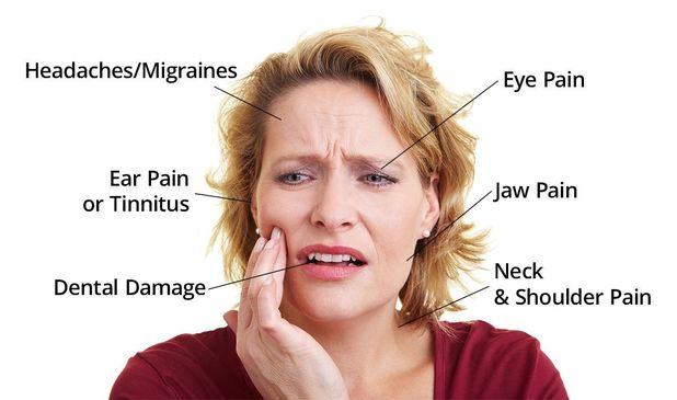 Photo of woman holding jaw in pain with text listing symptoms of TMD