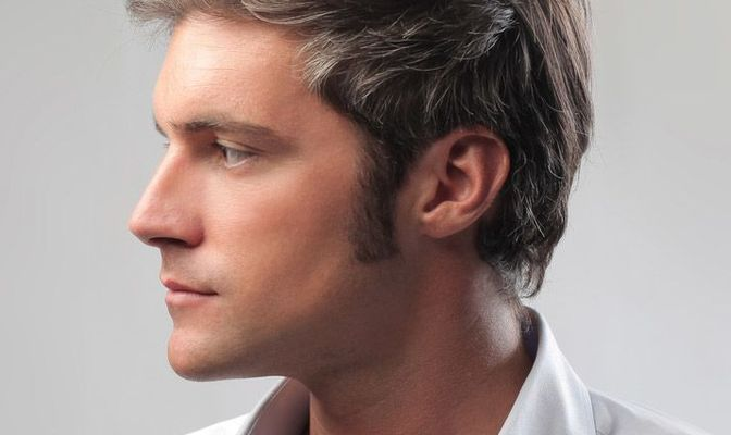 Close-up of young man in profile