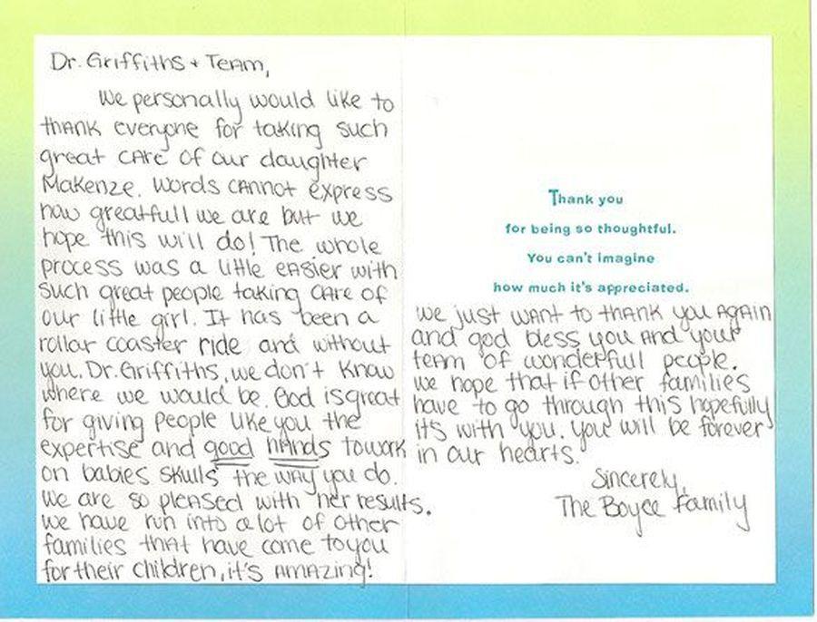 Patient testimonials: image of handwritten letter 5