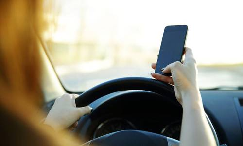 Driver looking at phone