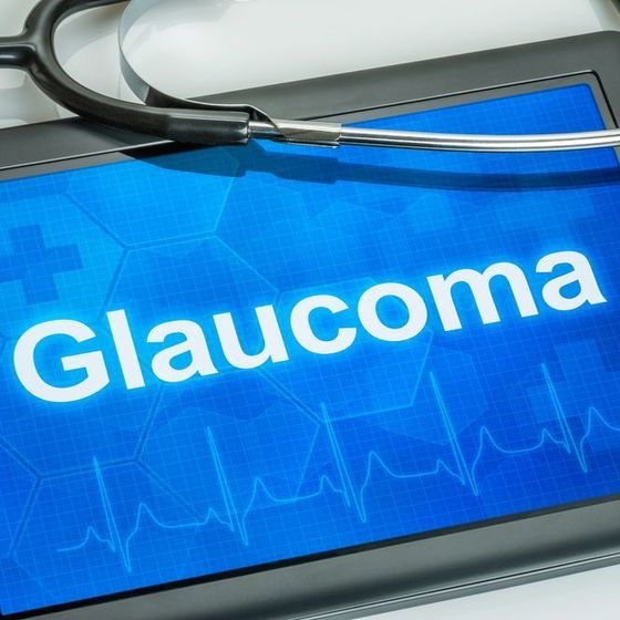 Illustration of a medical screen displaying the word 'glaucoma'