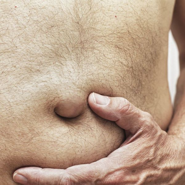 Close up of man's bellybutton