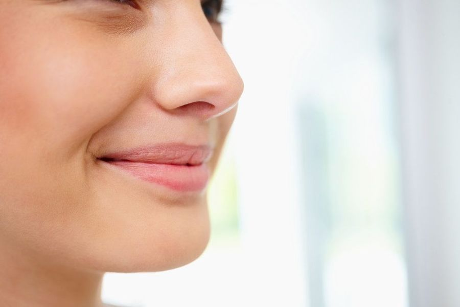 Profile of woman's chin