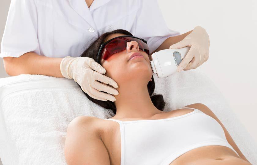Woman receiving IPL treatment