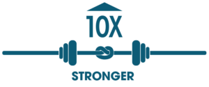 10X stronger graphic with barbell