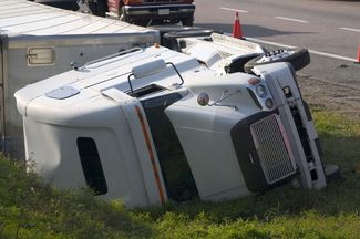 truck laying on its side