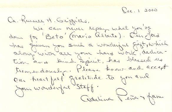 Patient testimonials: image of handwritten letter 6