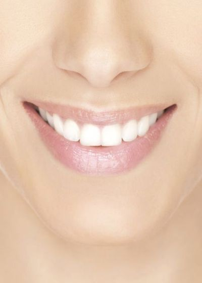 Close up of woman's attractive smile