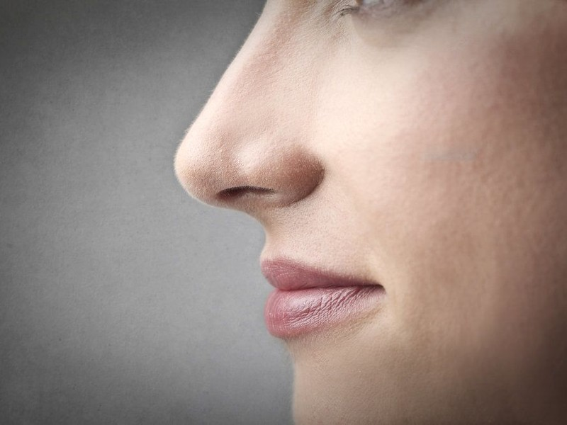 Profile view of a woman's nose.