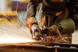 A worker welding