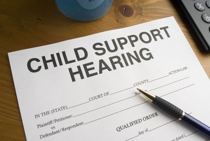Document with a large heading that reads Child Support Hearing