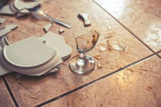 Smashed plate and broken glass on the ground