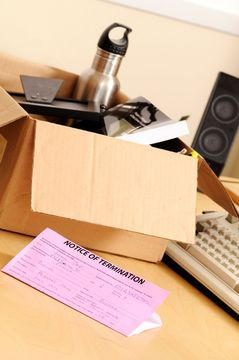 Box containing employee's items for workspace