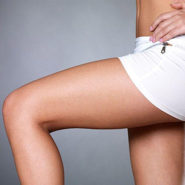 Woman's bent leg