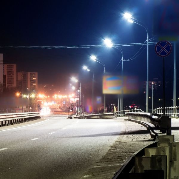 Blurred view of highway.