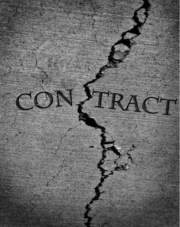 "Crack running through word ""contract"""