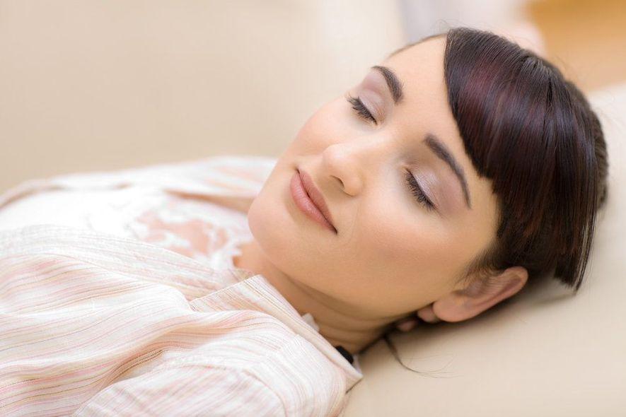 Brunette woman sound asleep