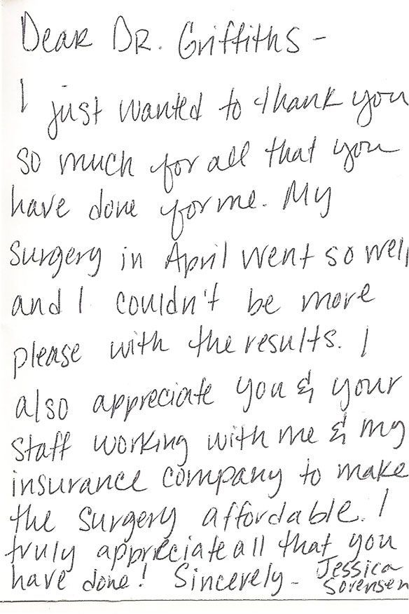 Patient testimonials: image of handwritten letter 10