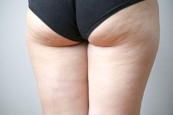 A closeup shot of a woman's buttocks