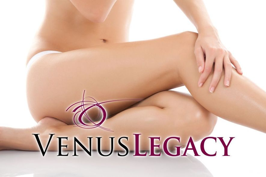 Photo of woman sitting with Venus Legacy logo