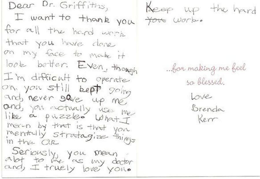 Patient testimonials: image of handwritten letter 8