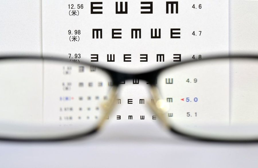 Eye chart with glasses in front of camera