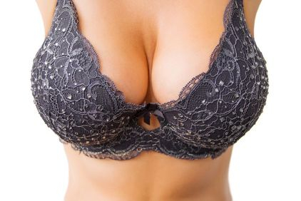 Close-up of large breasts covered by a bra