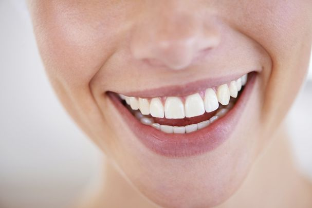 Close up of woman's smiling mouth