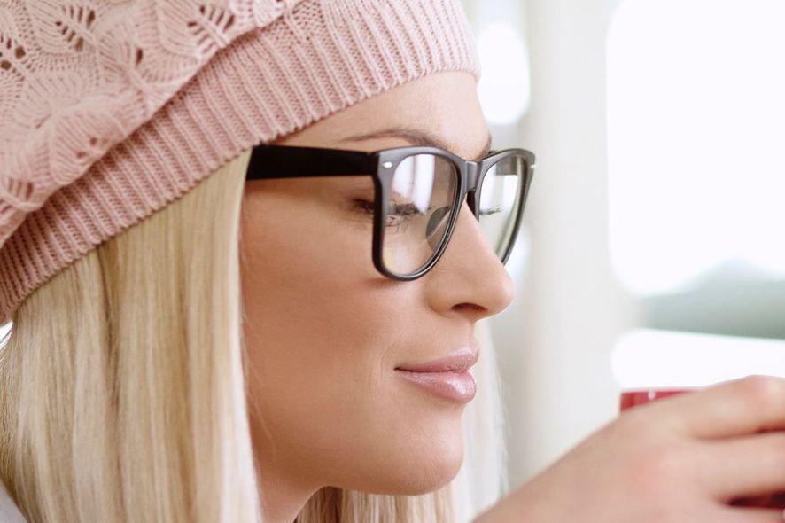 Blonde woman wearing glasses