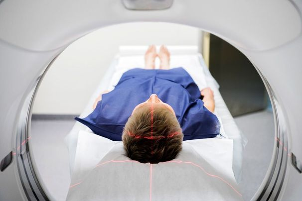 A patient receiving an MRI