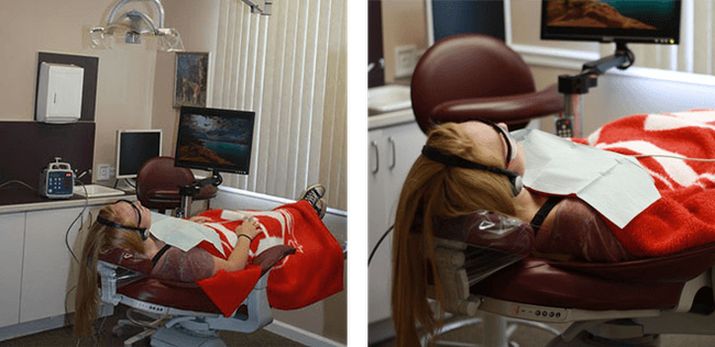female patient laying in dental chair
