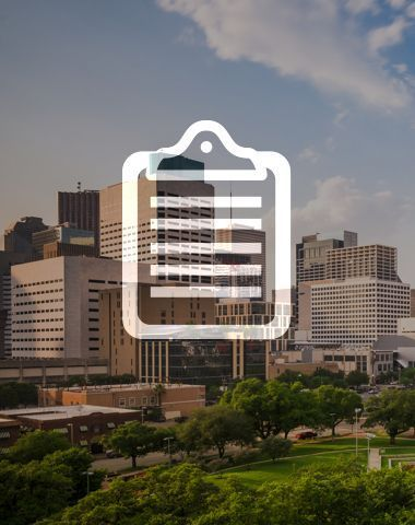 clipboard icon with cityscape background