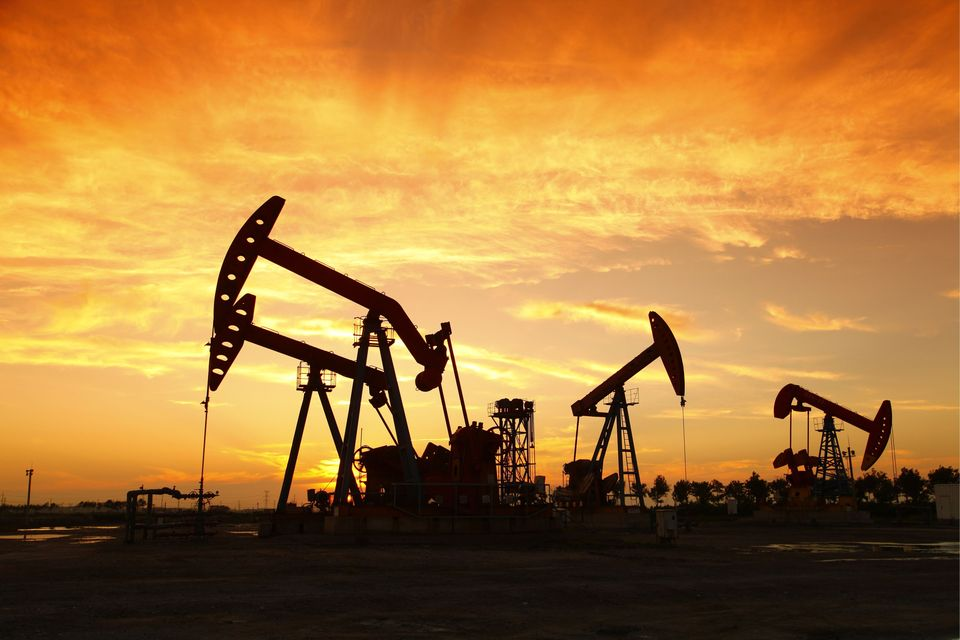 An oil field.
