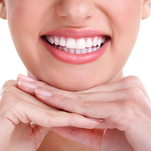 A close-up of healthy white teeth