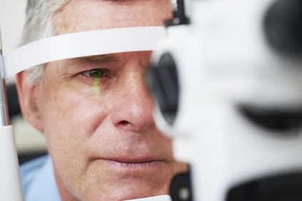 checking for cataract during eye examination