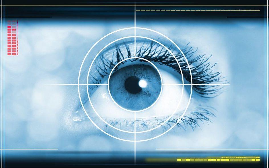 Close Up, Female Eye with Overlay Circling Iris