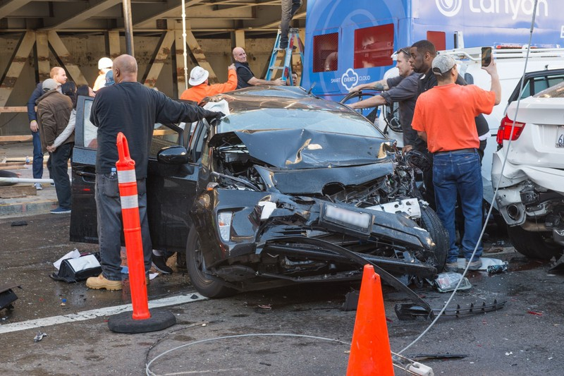 A damaged car after a crash