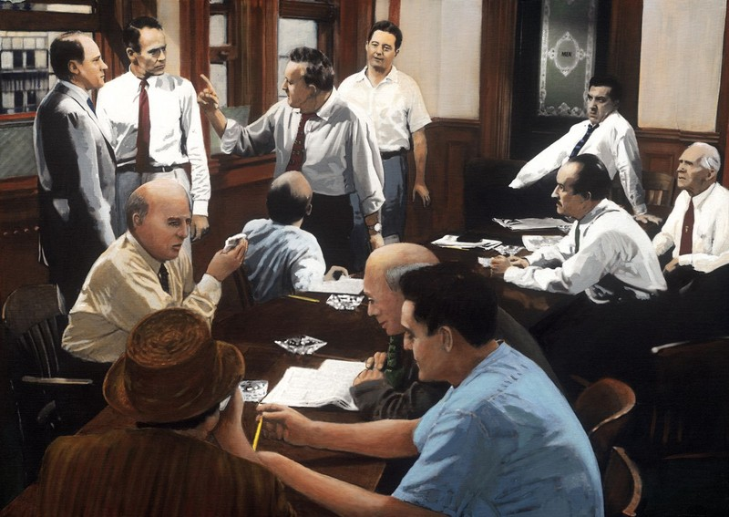 Painting of 12 Angry Men.
