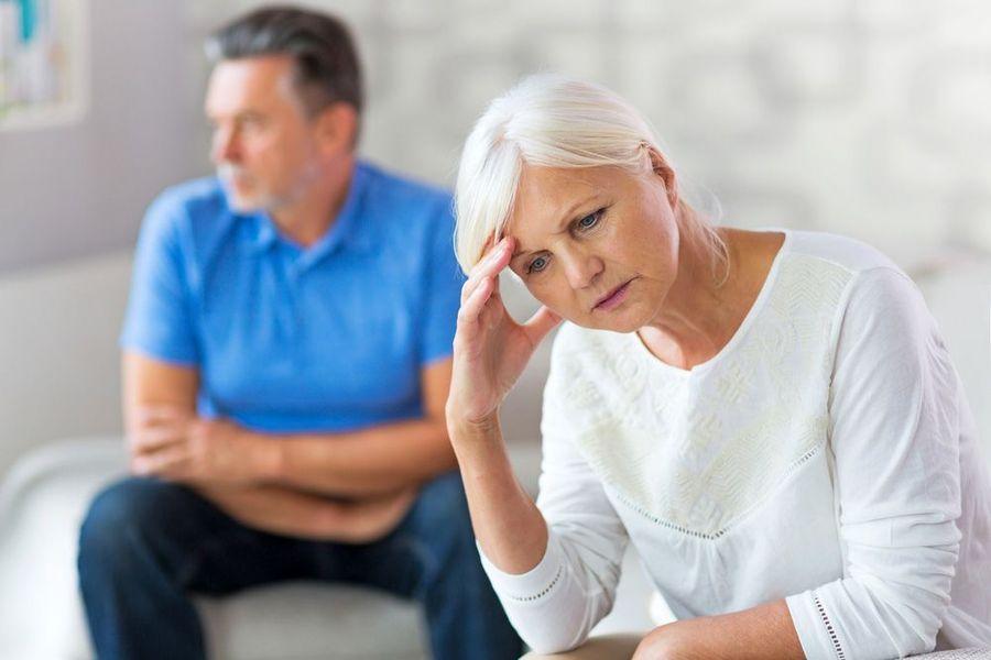 distressed senior couple