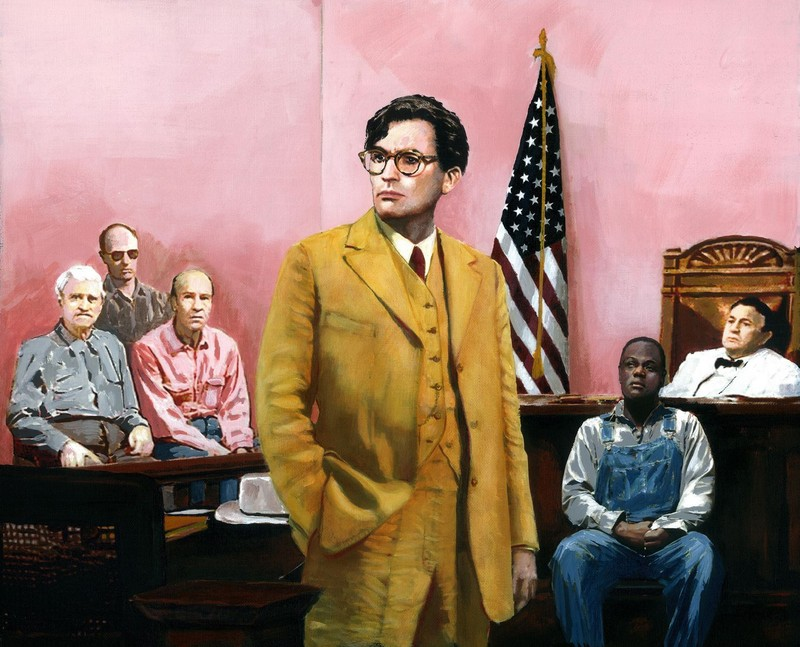 Painting from the film To Kill a Mockingbird. Atticus Defends Tom Robinson.