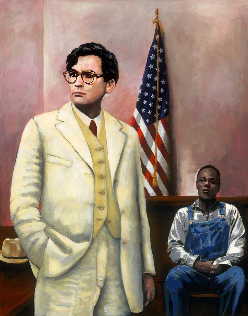 Detail of painting from the film To Kill a Mockingbird. Atticus Defends Tom Robinson.