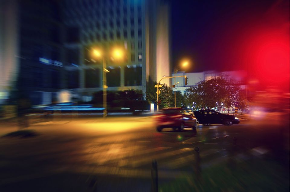 Blurred scene of car accident