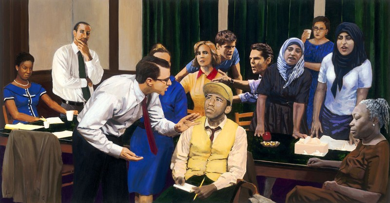 Painting of a Jury Deliberation.
