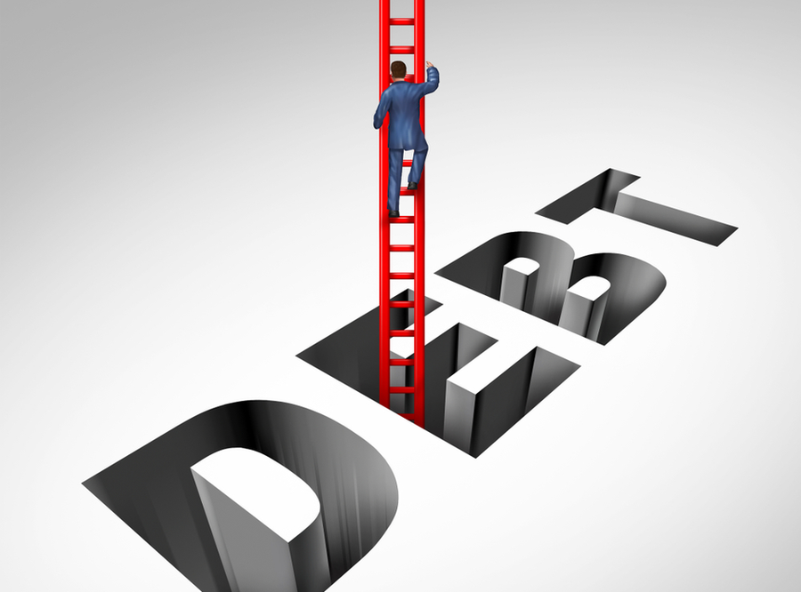 Illustration of a figure using a ladder to climb out of a pit in the shape of the word